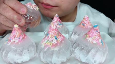 吃冰冻彩针糖水晶包子冰,听不一样的咀嚼音!