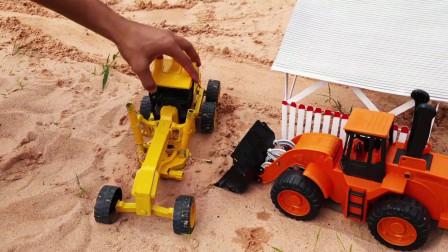 组建农场玩具,大铲车和铲平车玩具,拖拉机玩具