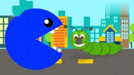 吃豆人在吃水果时不小心吃了虫子, 色彩启蒙动画