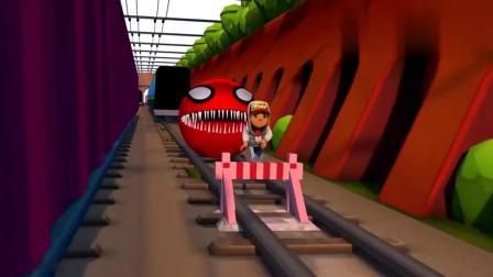 吃豆人大作战:红色怪物吃豆人在火车轨道上追击跑酷少年