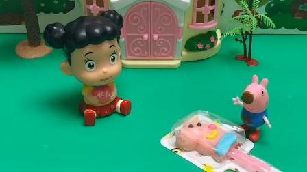 乔治告诉嘟嘟,自己回家吃棒棒糖了,嘟嘟生气不高兴了