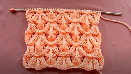 这款花样大气又唯美,一款垂帘针编织教程,织毛衣帽子都非常好看