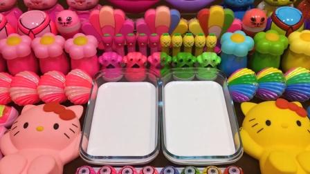 用一半粉色一半彩虹色玩具混泥,无硼砂超惊艳