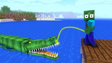 《我的世界怪物学院》搞笑动画:僵尸同学挑战史诗级史前巨鳄