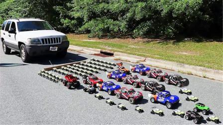 土豪测试,到底几辆遥控车能拉动1吨重真车,结果和想象不一样!