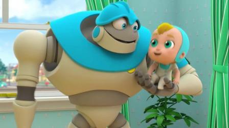 搞笑动漫:爸爸妈妈走了,机器人和小宝贝玩的好开心呀!