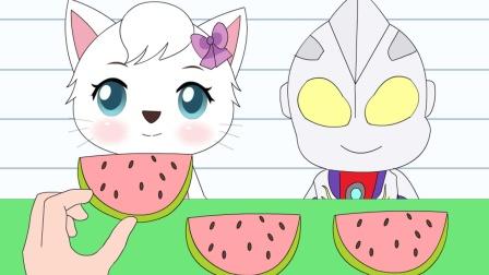 手绘动画:妮妮猫去超市捡起掉在地上的西瓜,买回去和迪迦分享