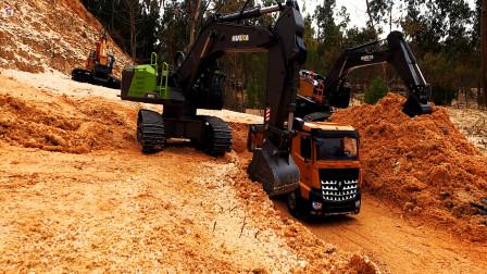 遥控工程车开工啦,两辆挖掘机和自卸车运输泥土铺路真棒