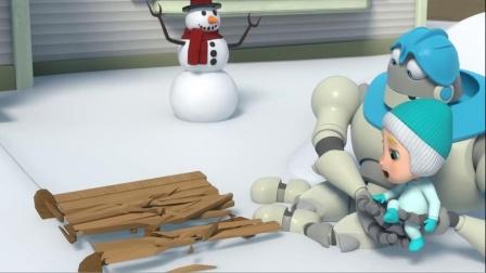 机器人将小宝贝的滑板给坐坏了,机器人那了很多家具来当滑板