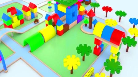 3D动漫拼装轨道,还有玩具车在上面开,有趣的动画教学