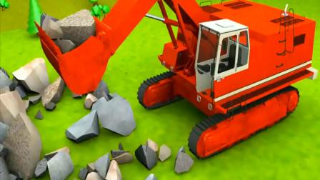 3D工程车动画 推土机吊车货车修建铁路