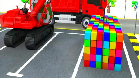 3D工程车动画 吊车和起重机货车运输铲车