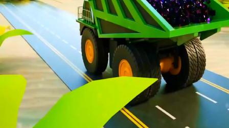 儿童动画 铲车和吊车钻孔车开采矿石
