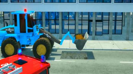 儿童动画 大货车消防车维修水管