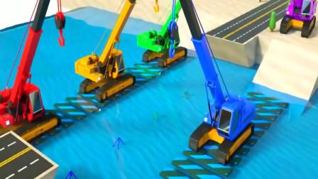 儿童动画 挖掘机压路机铲车建大桥