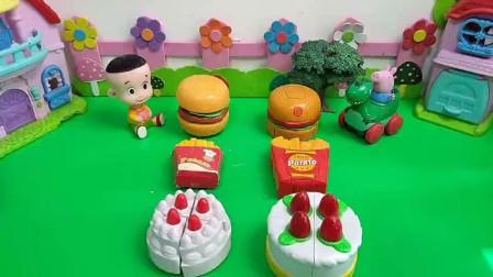 大头的汉堡薯条蛋糕PK乔治的汉堡薯条蛋糕!