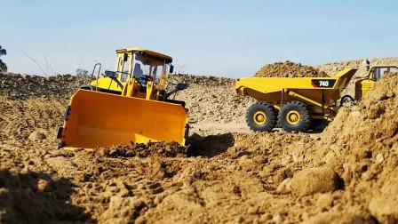 遥控工程车,黄色装载车翻斗车运输泥土挖掘机建房铺路真棒