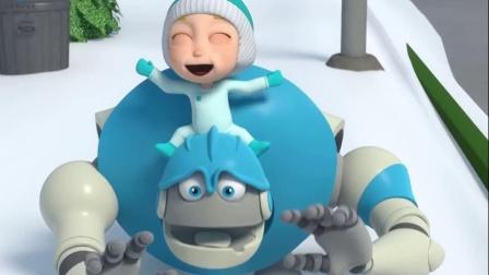 搞笑动漫:机器人带着小宝贝在滑雪,可是这滑雪也太好玩了吧!