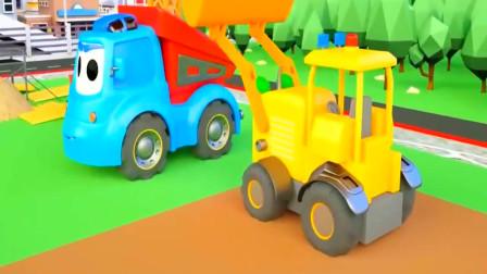 3D工程车挖掘机动画 推土机自卸车建造房子