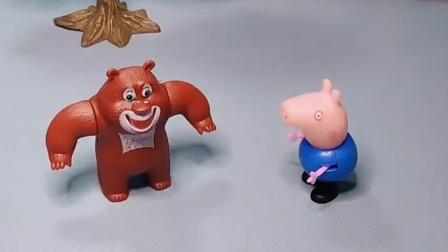 乔治和熊二比试卡片,小朋友快来看看,他们可真可爱