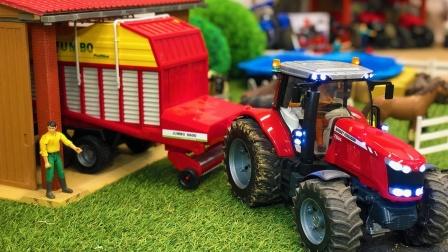 拖拉机帮忙牵引汽车玩具