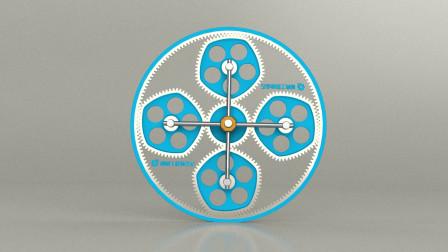 【006】经典机械机构赏析,五边形齿轮啮合的行星齿轮机构动画
