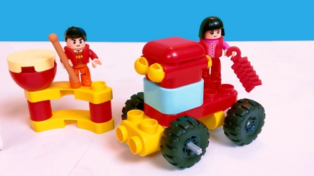 布鲁克积木玩具拼装豉,鞭炮车,兔子车