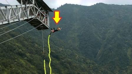 """女孩蹦极出现""""意外"""",跳下之后绳子断裂"""