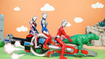 奥特曼和霸王龙乘坐猪爷爷的小火车