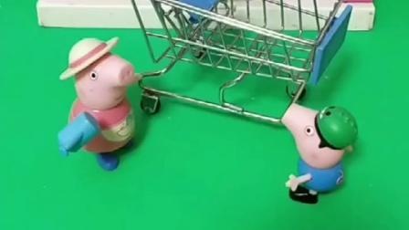 猪妈妈带乔治上超市,乔治要买的东西太多了,乔治这样不对