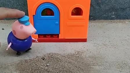 猪爷爷家门口有沙子,小卡车来帮助猪爷爷