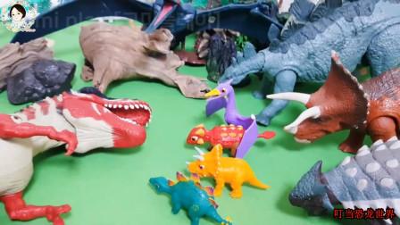三只坏蛋恐龙吞食恐龙蛋,翼龙妈妈用大石头炸翻坏蛋恐龙