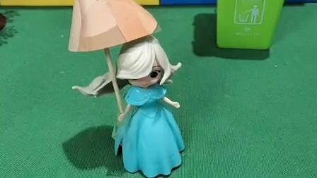 突然下雨了,贝儿带伞了,王后跟她借伞贝儿不愿意