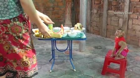 新年快乐!家里好热闹,妈妈准备了丰盛的大餐,猴子渡渡鸟好开心
