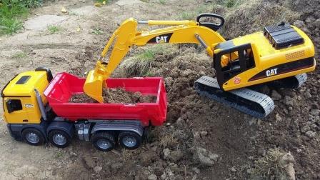 工程车玩具合作铺建地下水管