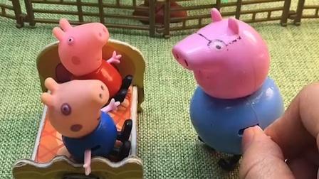 猪爸爸让乔治佩奇睡觉,乔治佩奇让爸爸讲故事,猪爸爸说不会讲