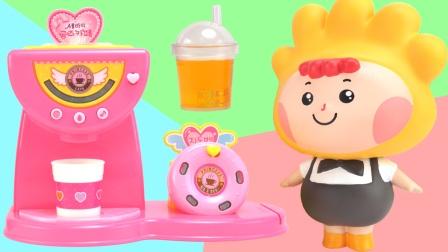 小企鹅波露露甜品店咖啡机玩具