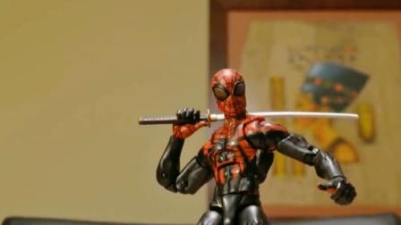 蜘蛛侠玩具动画:死侍对蜘蛛侠开枪了,被蜘蛛侠暴打