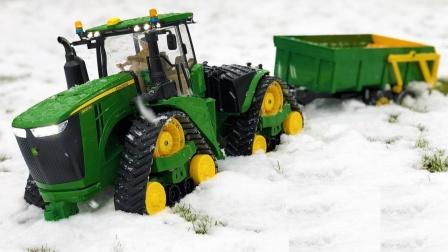 拖拉机安装工具在雪地工作