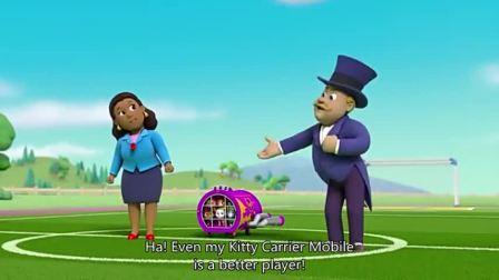 汪汪队:咕咕鸡站在足球上,古威市长着急坏了,咕咕鸡并不想踢球