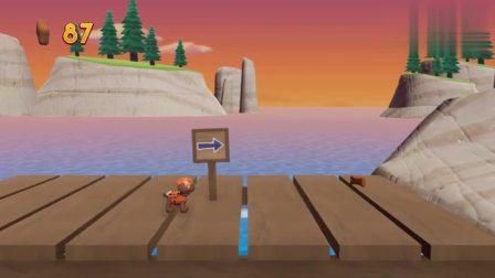 游戏汪汪队出发救援 木桥被大风吹起来,路马利用绳子把木板铺平