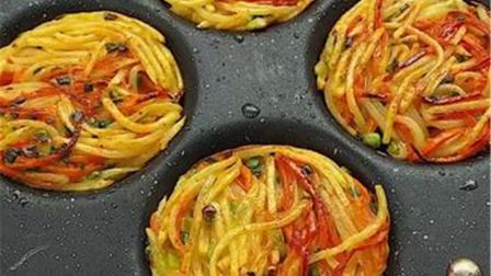两个土豆,一个胡萝卜,做成美味的土豆丝饼,焦香又酥脆