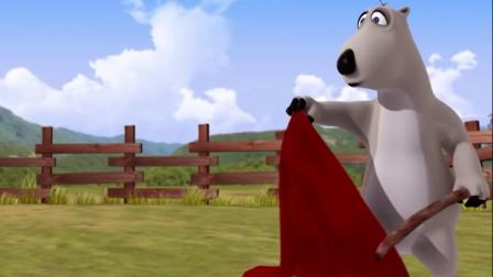 搞笑动漫:倒霉熊被小牛给顶到了车子上面去了