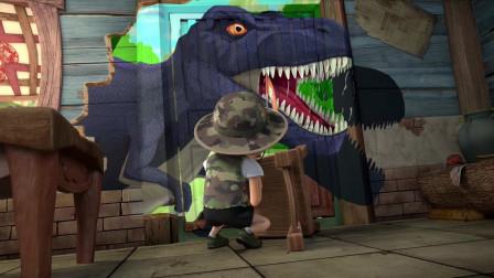 熊出没;胆小的光头强被墙上画的恐龙吓尿了