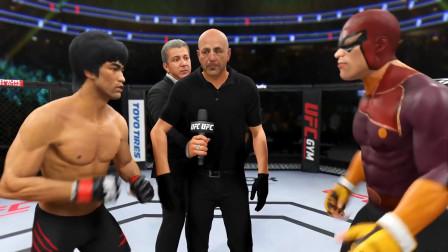 李小龙vs队长猎鹰,小龙接住对手的出腿,然后连续5拳暴揍对手