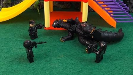 乔治发现了怪兽,他去找警察叔叔帮忙,警察叔叔把怪兽消灭了