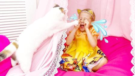 亲子游戏:小萝莉家中玩游戏,被宠物猫欺负哭了,咋回事呢