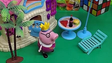 猪爸爸在睡觉,被孩子们叫醒了,猪爸爸不知道怎么回事