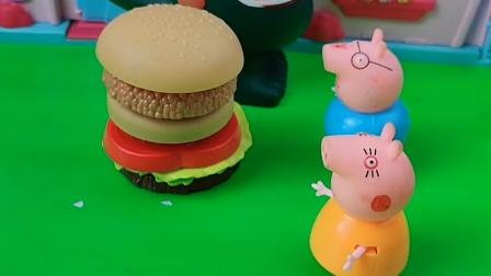 佩奇一家吃汉堡,乔治把大家的汉堡拿走了,乔治真调皮