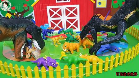 小恐龙宝宝进入栅栏,暴虐迅猛龙和霸王龙争夺恐龙宝宝